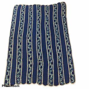 Handmade Afghan Blanket Blue Throw Crochet New